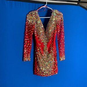 Fun red rhinestone embellished homecoming dress